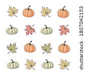 Autumn Pattern Of Pumpkins And...