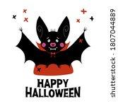 cute cartoon vampire bat with... | Shutterstock .eps vector #1807044889