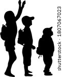 silhouettes of a children with... | Shutterstock . vector #1807067023