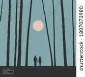 lovers in forest. romantic...   Shutterstock .eps vector #1807073980
