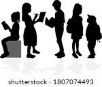 students silhouettes... | Shutterstock . vector #1807074493