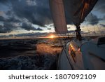Yacht Sailing In An Open Sea At ...