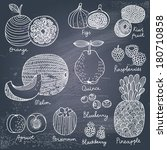 apricot,asia,background,berry,blackberry,blueberry,cartoon,chalkboard,citrus,collection,delicious,design,dessert,diet,drawing