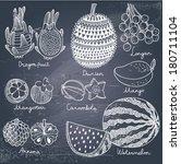 tasty tropical fruit set in... | Shutterstock .eps vector #180711104