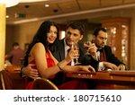 happy young people behind... | Shutterstock . vector #180715610