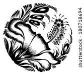 decorative silhouette hibiscus   Shutterstock .eps vector #180718694