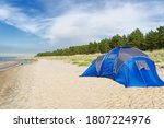 Blue Camping Tent On Sandy...