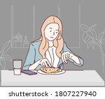 beautiful young woman eating... | Shutterstock .eps vector #1807227940