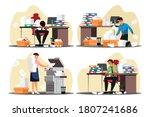 vector busy overworked man... | Shutterstock .eps vector #1807241686
