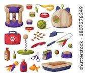 cat accessories set  pet shop... | Shutterstock .eps vector #1807278349