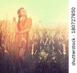 beauty romantic girl outdoors.... | Shutterstock . vector #180727850