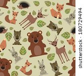 seamless pattern with cute wild ...   Shutterstock .eps vector #180729494