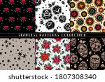 Roses And Skulls Seamless...