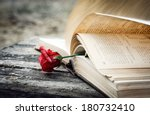 Open Book On Wood Desk With Rose