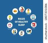 cartoon rules of healthy sleep... | Shutterstock .eps vector #1807331086