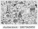 france doodle set. collection... | Shutterstock .eps vector #1807365850