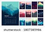 calendar 2021. beautiful... | Shutterstock .eps vector #1807385986