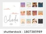 calendar set 2021 with abstract ...   Shutterstock .eps vector #1807385989