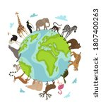 world animal day. vector earth... | Shutterstock .eps vector #1807400263