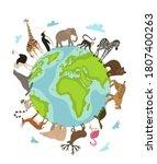 world animal day. vector earth...   Shutterstock .eps vector #1807400263