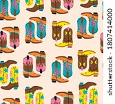 various cowboy boots. different ...   Shutterstock .eps vector #1807414000