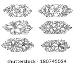 set of 6 flower vignettes | Shutterstock . vector #180745034