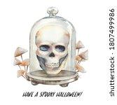 Watercolor Skull Inside Glass...