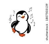 dancing penquin on the white... | Shutterstock .eps vector #1807503139