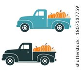 fall vintage truck set with... | Shutterstock .eps vector #1807537759