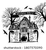 halloween party. mystical house.... | Shutterstock .eps vector #1807570390