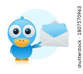 Blue Bird Cartoon With Mail...