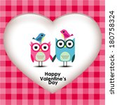 owls couple in love. vector.  | Shutterstock .eps vector #180758324