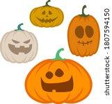 cute carved halloween pumpkin... | Shutterstock .eps vector #1807594150
