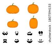 halloween pumpkins and faces... | Shutterstock .eps vector #1807594153