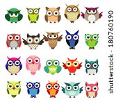 Stock vector set of owls 180760190