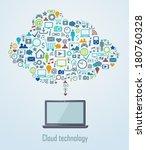 cloud technology illustration... | Shutterstock .eps vector #180760328
