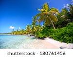 caribbean sand beach with palm...   Shutterstock . vector #180761456