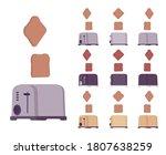 toaster set  kitchen equipment. ...   Shutterstock .eps vector #1807638259