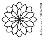 Black Outline Flower Mandala....