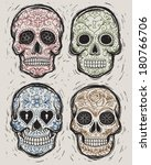 woodcut day of the dead vector... | Shutterstock .eps vector #180766706