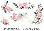 bouquets of peonies and leaves.... | Shutterstock .eps vector #1807671403