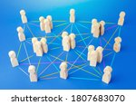 Small photo of People connected by many lines. Hierarchy of a business company without a dominant center. Distribution of positions and responsibilities, communication without bureaucracy. Efficiency and autonomy