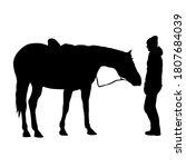 silhouette of black mustang... | Shutterstock . vector #1807684039