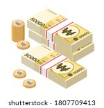 isometric stacks of 50000 south ... | Shutterstock .eps vector #1807709413