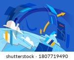 flow of data and digital assets ... | Shutterstock .eps vector #1807719490