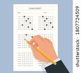 the student filling out answers ... | Shutterstock .eps vector #1807724509