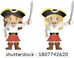 Cute Girl Pirate Illustrations. ...