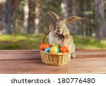 Easter Cute Bunny Sitting With...