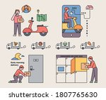 a delivery man asking for... | Shutterstock .eps vector #1807765630