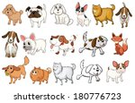 Stock vector illustration of the different breeds of dogs on a white background 180776723